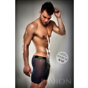 BOXER NEGRO 026 TRANSPARENTE LARGO LEATHER S/M