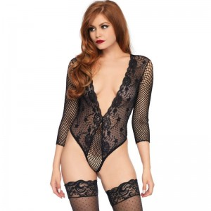 LEG AVENUE TEDDY MEDIA MANGA CUERPO DE RED NEGRO TALLA UNICA