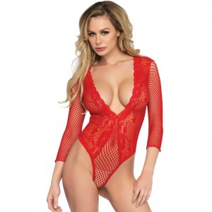 LEG AVENUE TEDDY MEDIA MANGA CUERPO DE RED ROJO TALLA UNICA