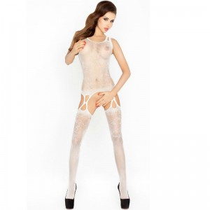 PASSION WOMAN BS015 BODYSTOCKING BLANCO TALLA UNICA