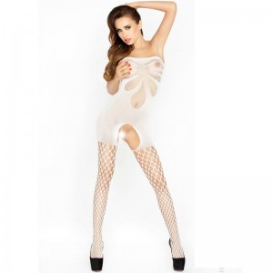 PASSION WOMAN BS021 BODYSTOCKING BLANCO TALLA UNICA