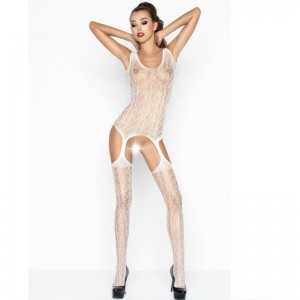 PASSION WOMAN BS043 BODYSTOCKING BLANCO TALLA UNICA