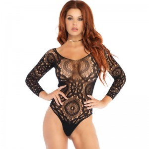 LEG AVENUE TEDDY MANGA LARGA S/M